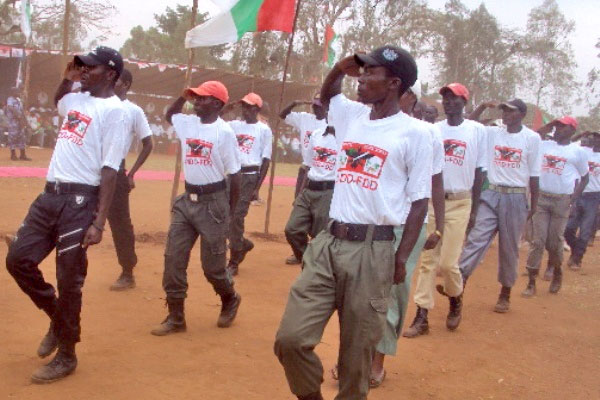 Members of Burundi's ruling party youth wing march at a rally in September 2012. Photo: IRIN/Desire Nimubona