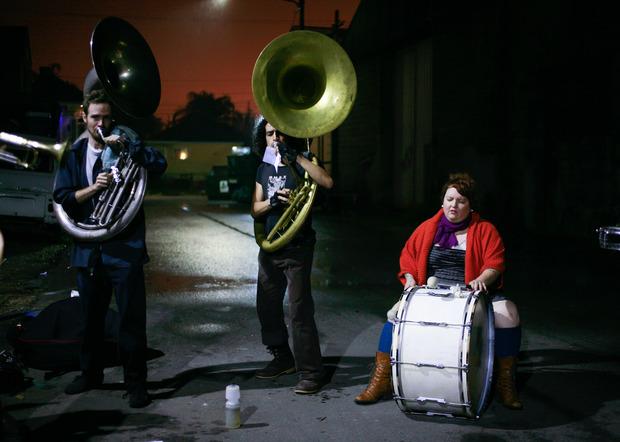 La Eris Band provava sotto la pioggia. Foto: Gisella Sorrentino