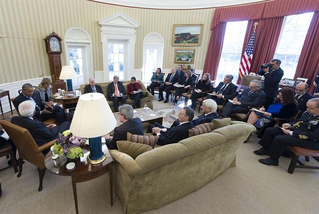 Colloqui allargati alle delegazioni ufficiali allo Studio Ovale (Ph: Quirinale)