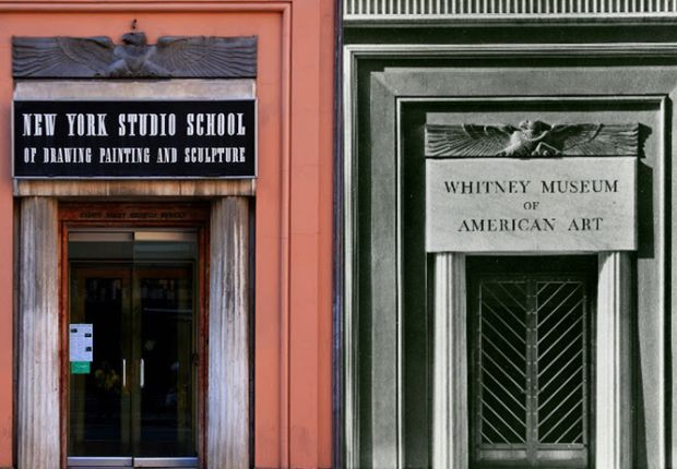 La New York Studio School oggi e come era nel 1931, quando era la sede del Whitney Museum of Art (Ph: F.S. Lincoln)
