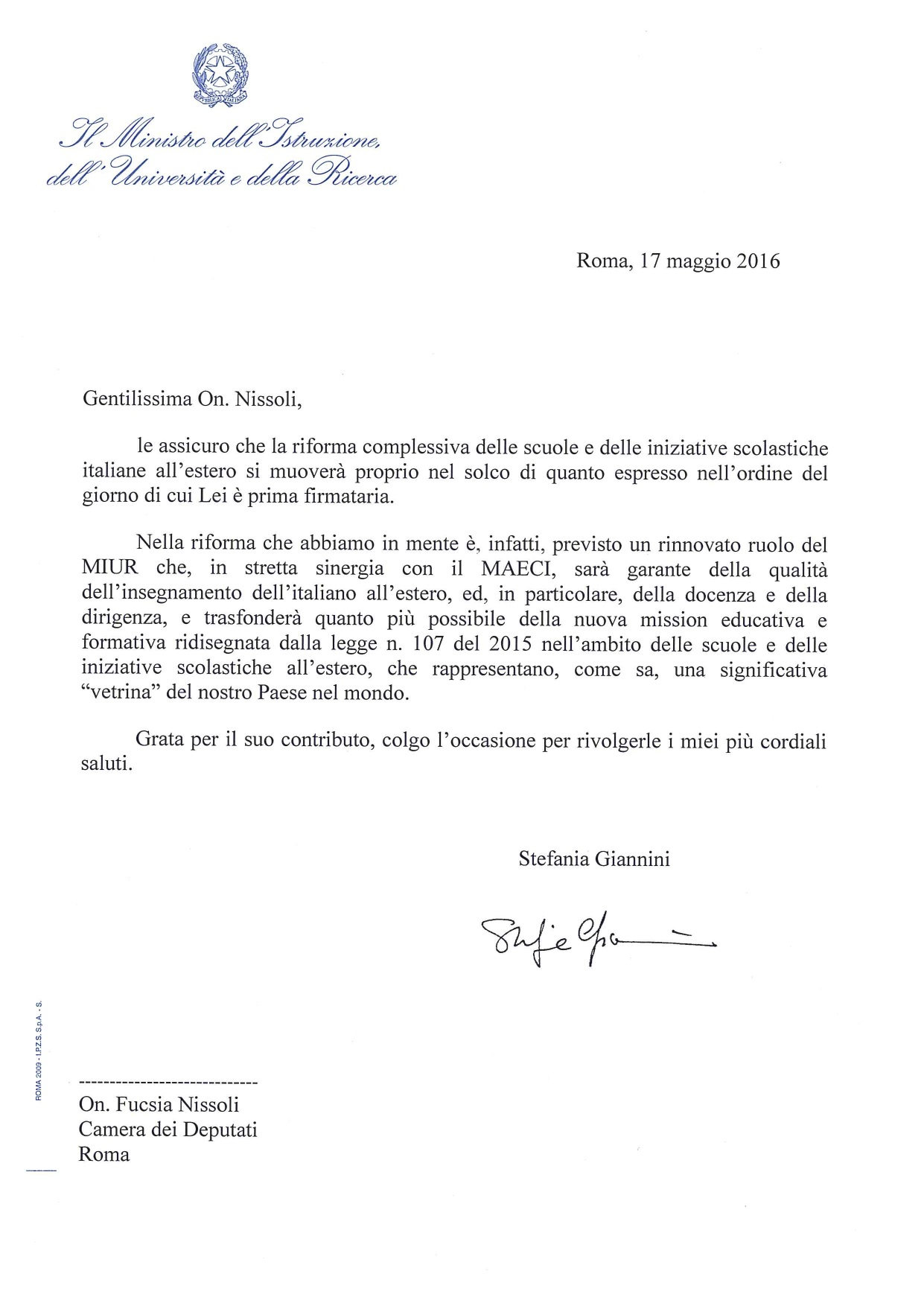 Nota On Nissoli dal ministro Giannini