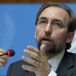 Zeid Ra'ad Zeid Al Hussein, United Nations High Commissioner for Human Rights at a press conference during of the 30th regular Session at the Human Rights Council. 16 September 2015. UN Photo / Jean-Marc FerrŽ