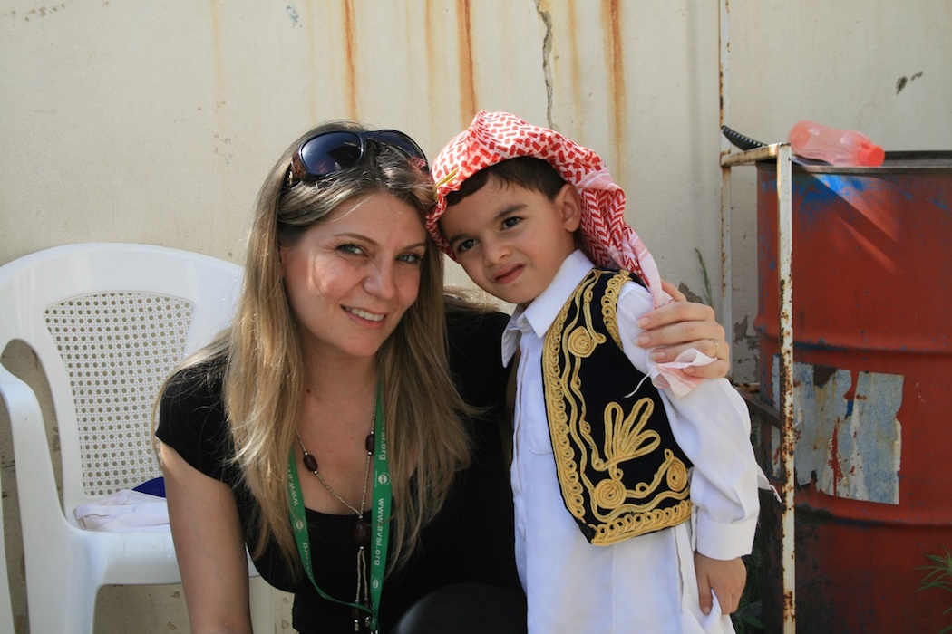 Ms. Najib with an AVSI beneficiary student in Lebanon