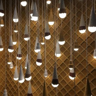 Wall of hanging ice cream cone lights Photo: Molly Doomchin