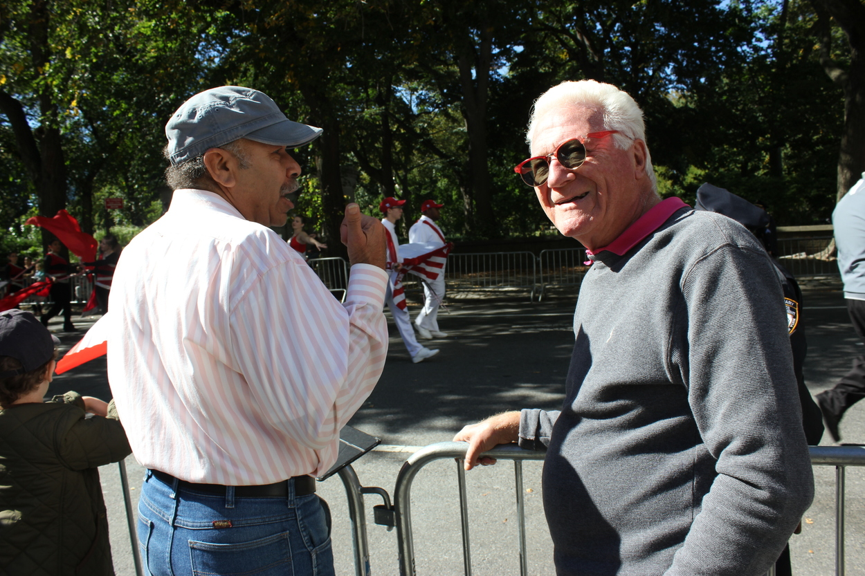 "Phil (left) and Bob (right): ""We like the parade and we live two blocks away. We just love being here in the sunshine."""