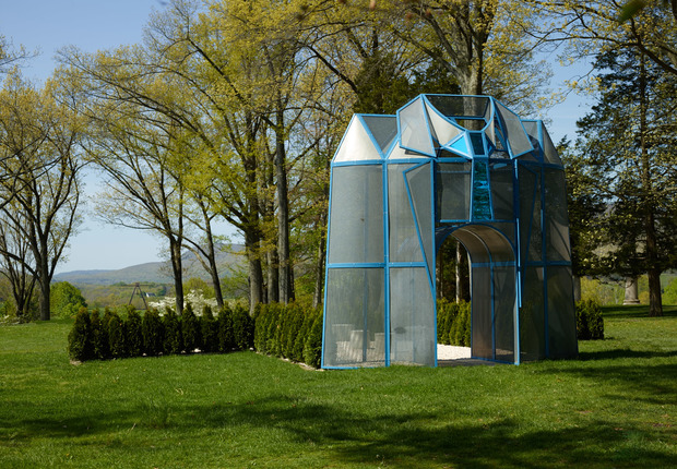 Entrance to a Garden 2002 Painted steel angle, perforated stainless steel, bolts, landscaping material. ©Dennis Oppenheim Courtesy Dennis Oppenheim Estate Photo: Jeffrey Sturges