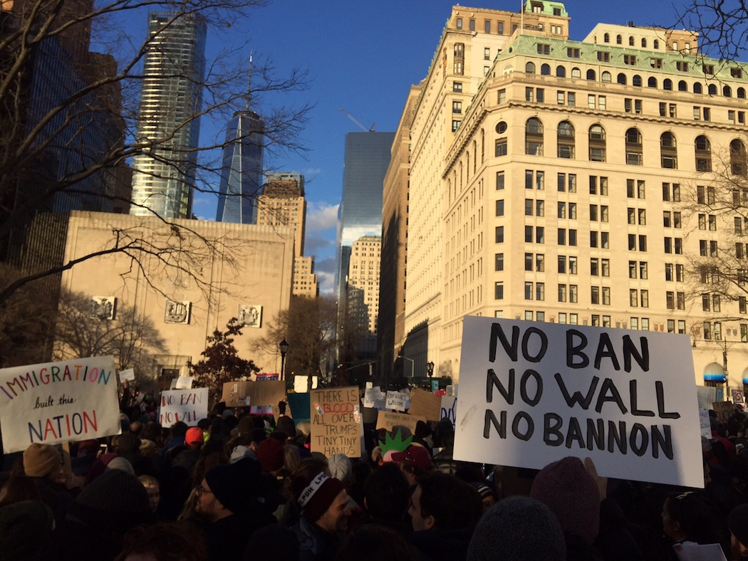 trump protest new york no wall non bannon
