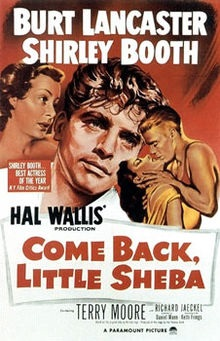 "La locandina del film premio Oscar ""Come Back, Little Sheba"" (1952)"