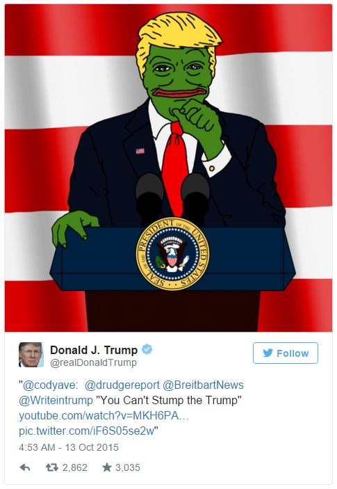Il tweet di Donald di Trump con il meme di Pepe the Frog. Perpetual revolution international center of photography