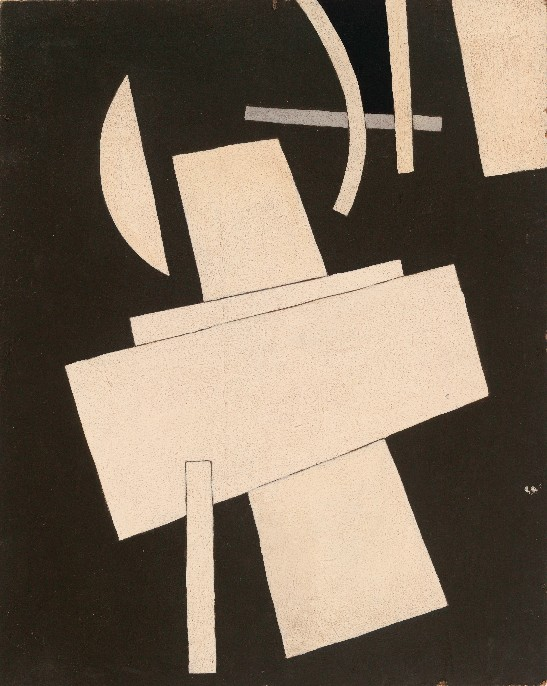 Lyubov Popova, Untitled, c. 1916-17. Gouache on board, 19 1/2 x 15 1/2″ (49.5 x 39.5 cm). The Museum of Modern Art, New York. The Riklis Collection of McCrory Corporation.
