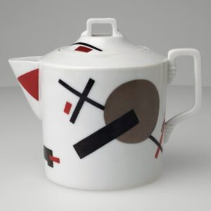 Nikolai Suetin, Teapot. c. 1923. Porcelain with overglaze painted decoration, 5 1/2 x 4 1/2″ (14 x 11.4 cm). The Museum of Modern Art, New York. Estée and Joseph Lauder Design Fund