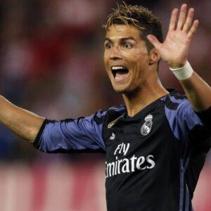 Cristiano Ronaldo esulta per il primo dei quattro gol del Real Madrid durante la finale di Champions League contro la Juventus