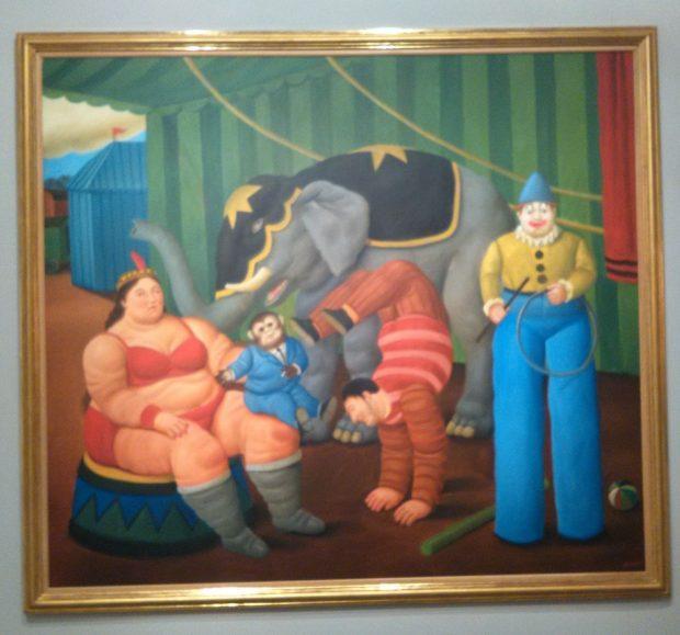 Botero Gente del circo con elefante