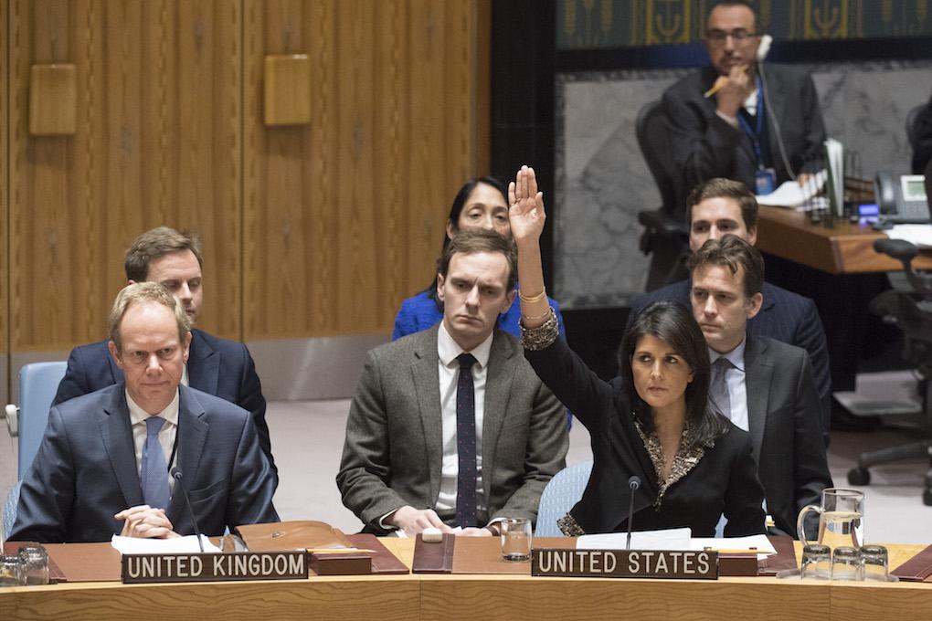 Donald Trump, il 6 dicembre, riconosce ufficialmente Gerusalemme capitale d'Israele. Forti frizioni tra USA e ONU (Nella foto ONU, Nikki Haley, ambasciatrice USA alle Nazioni Unite)