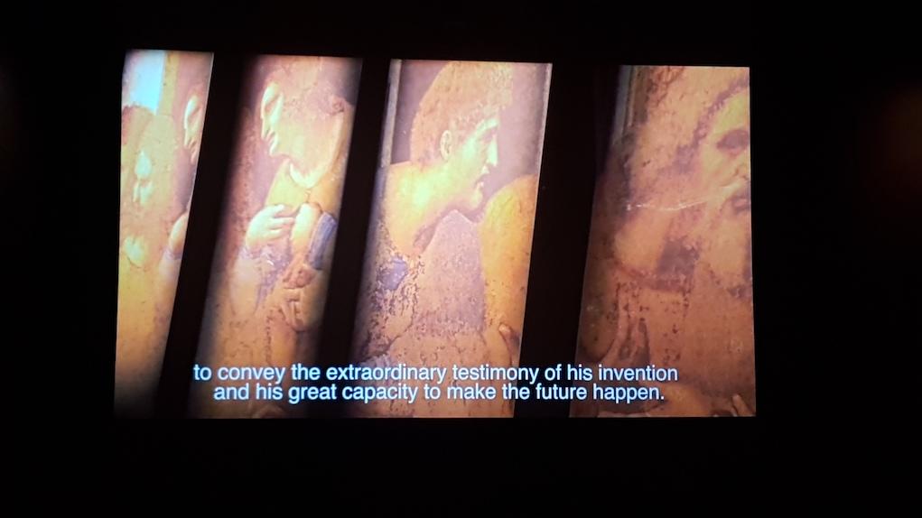 Alcuni lavori di Leonardo proiettati durante la serata.