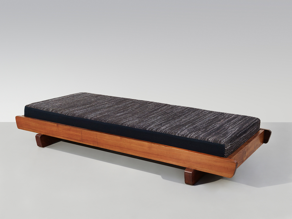 "Charlotte Perriand Banquette ""traineau"" Candilis, c. 1951 pine bed, with cushion, original upholstery by Simone Prouvé 9 1/8 x 80 3/8 x 33 1/2 in 23 x 204 x 85 cm unique"