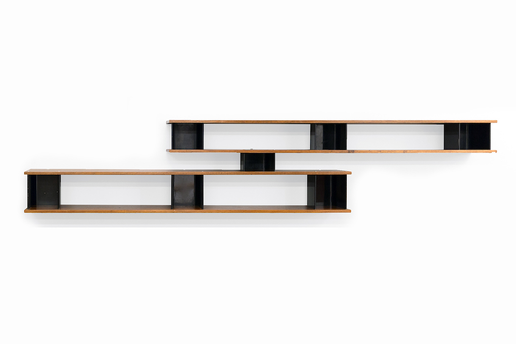 "Charlotte Perriand Bibliothèque Nuage ""MIFERMA,"" c. 1958 ash shelves, with U-shaped steel dividers 28 x 142 x 13 in 71.1 x 360.7 x 33 cm"