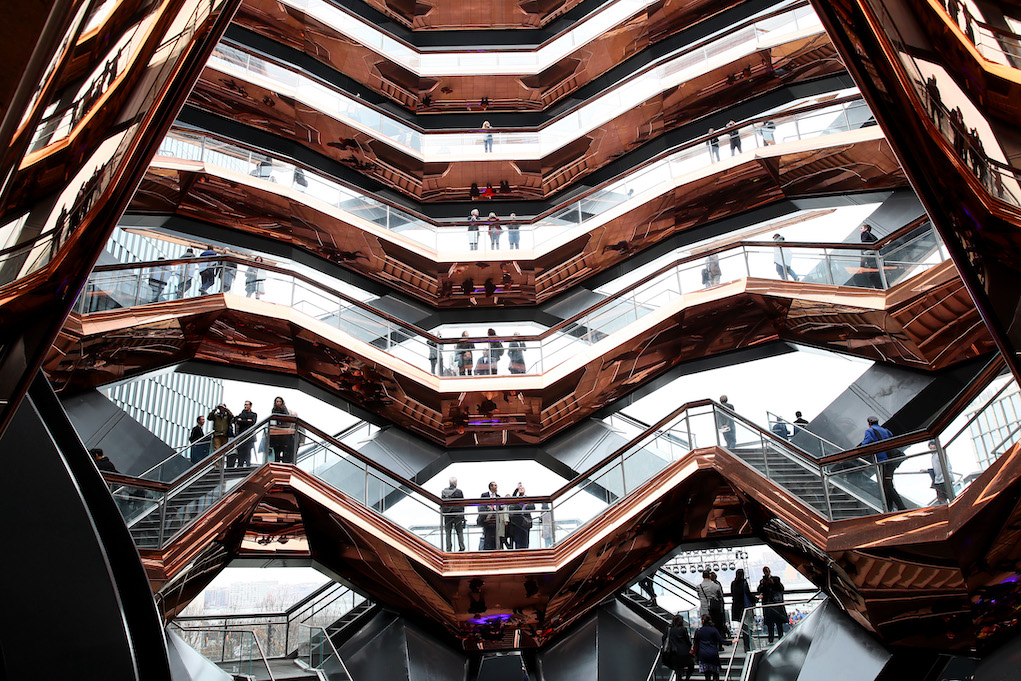 NEW YORK, NEW YORK - MARCH 15: A view inside the Vessel at Hudson Yards, New York's Newest Neighborhood, Official Opening Event on March 15, 2019 in New York City. (Photo by Astrid Stawiarz/Getty Images for Related)