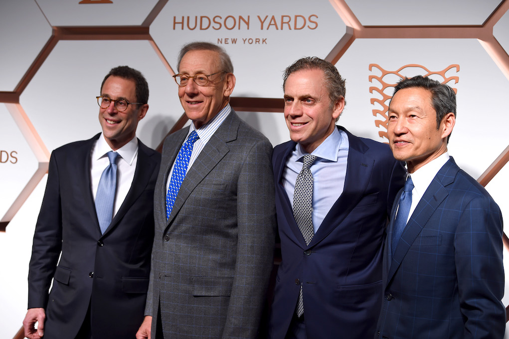 NEW YORK, NEW YORK - MARCH 14: (L-R) Jeff Blau, Stephen Ross, Bruce Beal and Ken Wong attend The Shops & Restaurants at Hudson Yards Preview Celebration– Red Carpet Arrivals on March 14, 2019 in New York City. (Photo by Dimitrios Kambouris/Getty Images for Related)