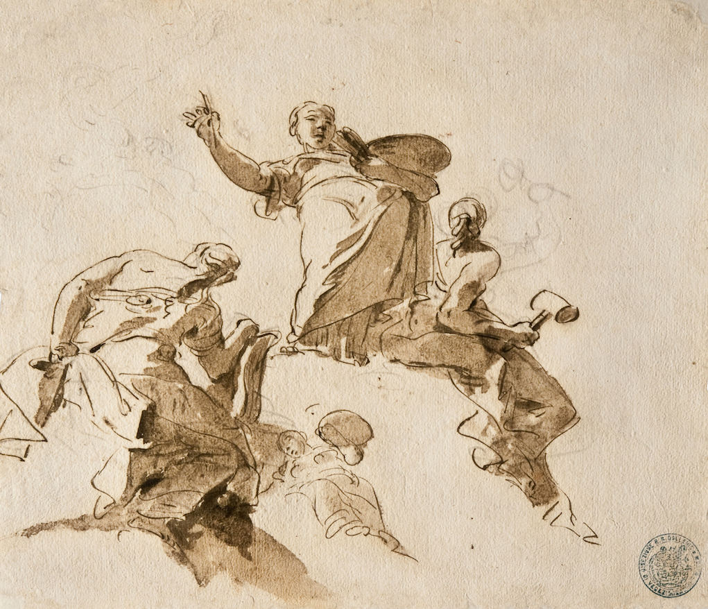 Giambattista Tiepolo Study of Four Female Figures, ca. 1730–31 Pen, brown ink, and black chalk on white paper 11 3/8 × 13 3/8 inches Civico Museo Sartorio, Trieste