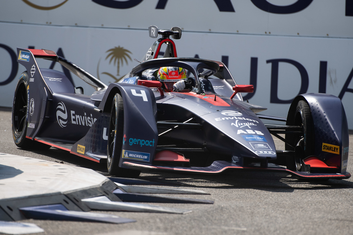 BROOKLYN STREET CIRCUIT, UNITED STATES OF AMERICA - JULY 12: Robin Frijns (NLD), Envision Virgin Racing, Audi e-tron FE05 during the New York City E-prix I at Brooklyn Street Circuit on July 12, 2019 in Brooklyn Street Circuit, United States of America. (Photo by Simon Galloway / LAT Images)