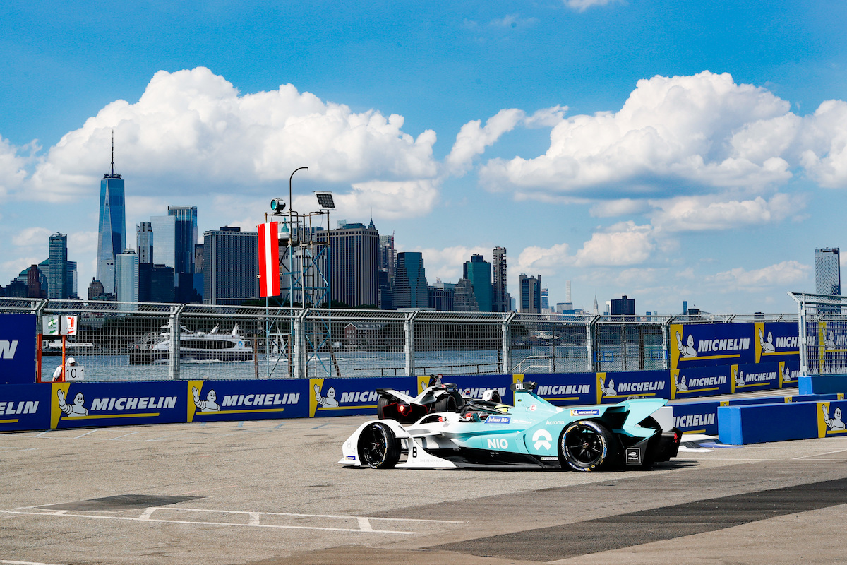 BROOKLYN STREET CIRCUIT, UNITED STATES OF AMERICA - JULY 12: Tom Dillmann (FRA), NIO Formula E, NIO Sport 004 during the New York City E-prix I at Brooklyn Street Circuit on July 12, 2019 in Brooklyn Street Circuit, United States of America. (Photo by Steven Tee / LAT Images)