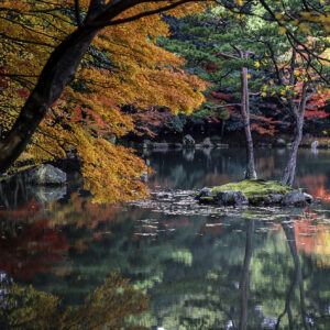 Beautiful Autumn Leaves and Lake in Kyoto, Japan. Photo by Public Domain.
