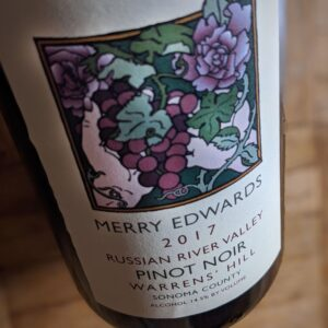 "2017 Merry Edwards Pinot Noir ""Warrens' Hill Vineyard"". Photo Credit: Cathrine Todd"