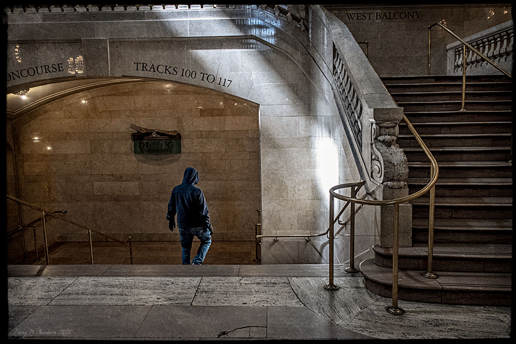 Marzo 2020, New York, Il viaggiatore solitario, Grand Central Terminal (di Terry W. Sanders)