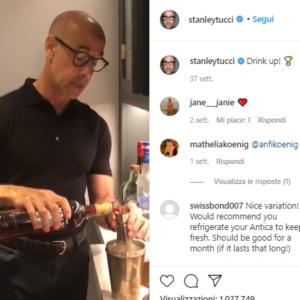 Stanley Tucci prepara un cocktail su Instagram