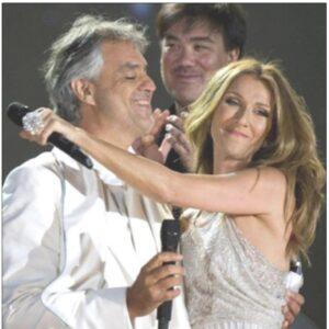 Nella foto, Andrea Bocelli con Celine Dion