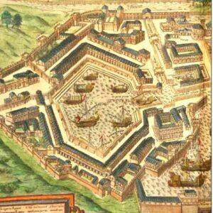 Nella foto, il Porto di Traiano a Fiumicino in un'incisione fatta nel '500 da Sebastian Munster
