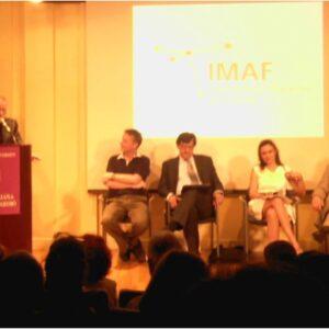 Nella foto, l'incontro con Giorgio Faletti (a sinistra dietro il podio) alla Casa Italiana Zerilli-Marimò @ NYU
