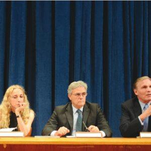 Il panel di F4D alla conferenza stampa al Palazzo di Vetro con al centro Franca Sozzani e l'ambasciatore Cesare Ragaglini (Foto di Riccardo Chioni)