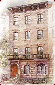 Un aquarello raffigurante la Casa Italiana Zerilli Marimo' nel West Village