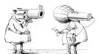 Una rappresentazione del rapporto fra guerra e media di Hassan Karimzadeh, vignettista di diversi giornali iraniani. Nel 1992 l'autore fu imprigionato per aver fatto una caricatura di Khomeini