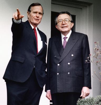 George Bush e Giulio Andreotti