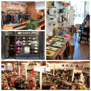 In senso orario dall'alto a sinistra: il negozio chic Bird a Park Slope, l'interno della boutique Cog and Pearl a Park Slope, Beacon's Closet con le sue occasioni a Williamsburg, Goorin Bros. cappelli a Park Slope