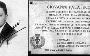 Una foto di Giovanni Palatucci e una targa che lo ricorda come un eroe per aver salvato gli ebrei
