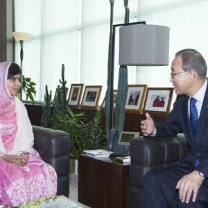 Malala Yousafai con il Segretario Generale dell'ONU, Ban Ki-moon