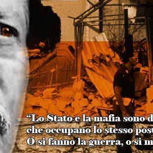 Nella composizione il magistrato Paolo Borsellino e una sua frase sul rapporto Stato-mafia