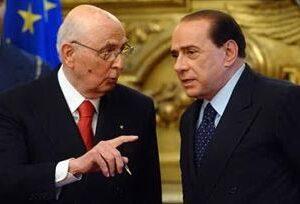 Il Presidente della Repubblica Giorgio Napolitano con il leader del PDL Silvio Berlusconi