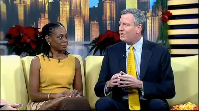 de Blasio and wife