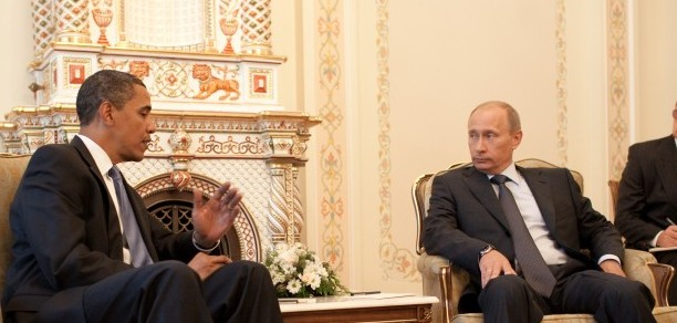 Il Presidente americano Barack Obama con il collega russo Vladimir Putin
