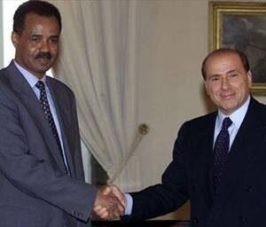 Il dittatore eritreo Isayas Afeworki con Silvio Berlusconi quando era capo del governo