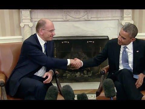 Il Premier Enrico Letta con il Presidente Barack Obama alla Casa Bianca
