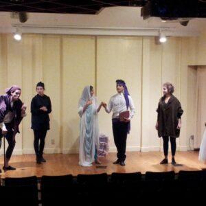 Un momento delle prove della Mandragola di Niccolo Machiavelli messo in scena da YoungKIT alla NYU