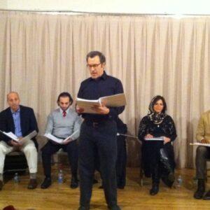 Un momento della lettura del riadattamento inglese dell'opera pirandelliana