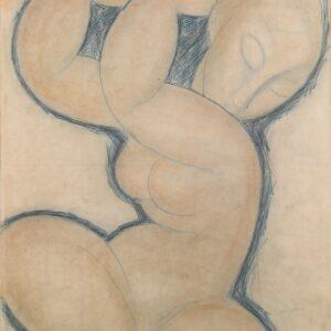 Amedeo Modigliani Cariatide (blu) 1913 circa Matita blu su carta, cm 56,5 x 45 © Pinacothèque de Paris