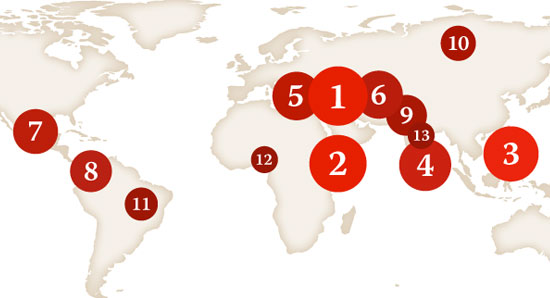 Global Impunity Map - By Elisabeth Witchel/CPJ Impunity Campaign Consultant
